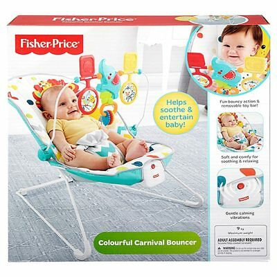 NEW Fisher-Price Colourful Carnival Bouncer Helps develop: