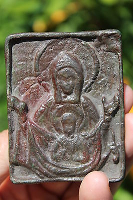 Byzantine bronze icon Virgin Mother Mary and Jesus Christ, circa 600-1000AD
