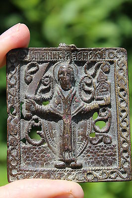 Christian bronze icon Saint Nicholas (?) with a sword, circa 1700-1800AD