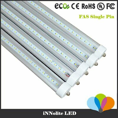 10pcs 8ft Foot 40w Single Pin FA8 T8 T12 LED Tube Light 6500K White CLEAR LENS
