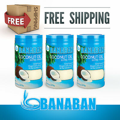Extra Virgin Coconut Oil 3 x 1 Litre Organic Raw an Cold Pressed - FREE SHIPPING
