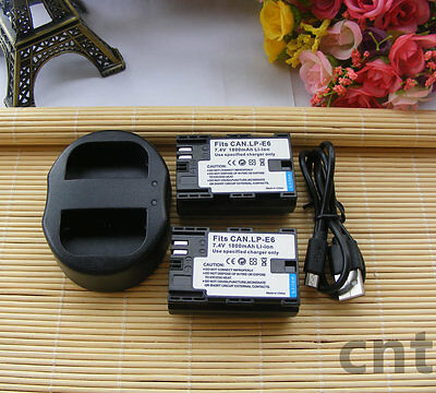 2x LP-E6 LP-E6N Battery and Charger For Canon EOS 5D MARK III II 60D 80D