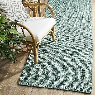 MORAINE SOFT BLUE NATURAL CHUNKY JUTE FLATWEAVE FLOOR RUNNER 80x300cm **NEW**