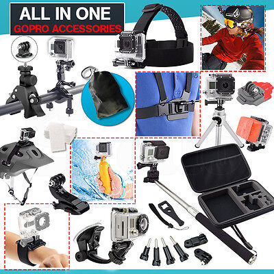 All in 1 Accessories Set Pack Case Chest Head Monopod GoPro Go pro HD Hero 4 3 2