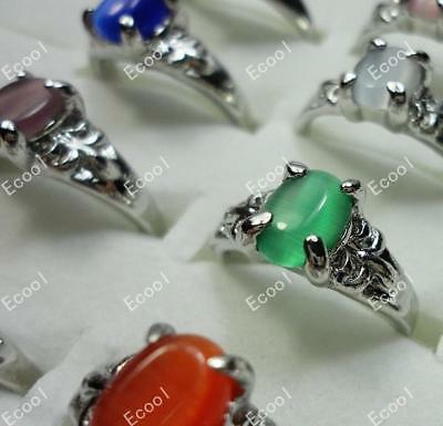 15pcs Color Opal Silver Plated Rings Wholesale Mix Jewelry Alloy Free Shipping B