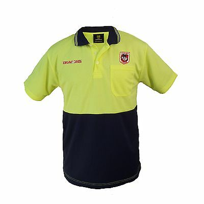 St George Illawarra Dragons NRL Short Sleeve HI VIS Polo Work Shirt: Yellow/Navy