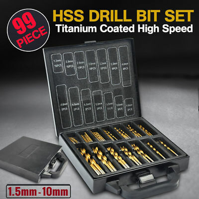99pc Titanium HSS Drill Bit Set 1.5-10mm Coated Steel Wood Metal Twist Shank