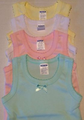 New Set Of 4-Girl's Tank-Top Solid 100% Cotton Sleeveless Undershirt Sizes: 1-3