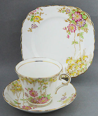 Vintage Colclough White Floral Trio c. 1950s Shabby High Tea English China