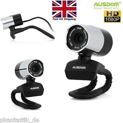 AUSDOM 1080P HD USB Webcam PC Camera Built-in Mic Adjustable Zoom Focus Silver