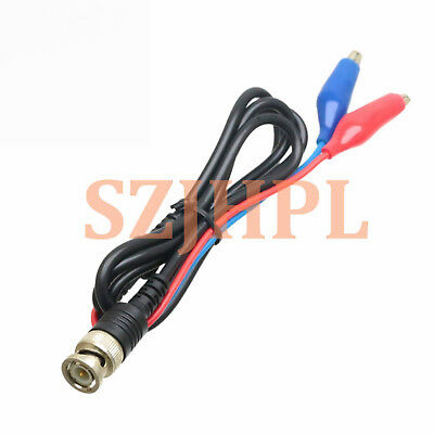 BNC male Q9 to Double Alligator Clip Test Probe Cable Leads 100CM Blue