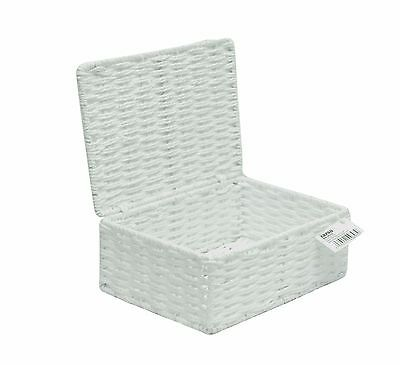 Small Paper Rope Storage Basket Box With Lid - White  WB-9690S