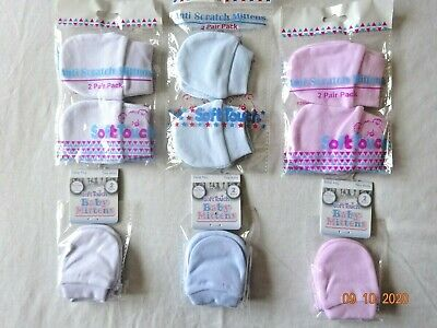 Boy/girl 2 Pair Pack White,pink,blue Cotton Anti-Scratch Mitts/mittens,newborn