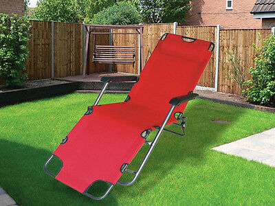 New Red Folding Gravity Sun Lounger Deck Chair Recliner Garden Bed Reclining