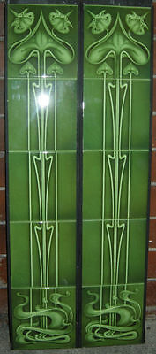 Art Nouveau Fireplace Tile Set 2 X 5 Tile Panels An25 Green Gas / Decorative