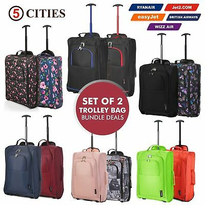 Set of 2 Cheap Trolley Cabin Hand Luggage Travel Bags Bag