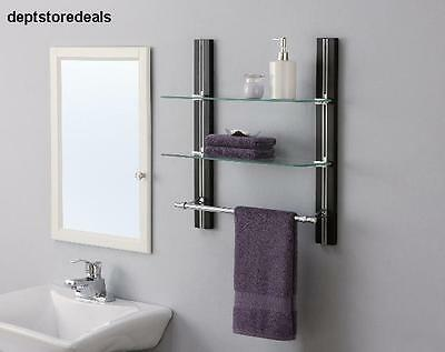 2-Tier Wall Shelf Unit Bathroom Apartment Spare Modern Glass Metal Towel Rack