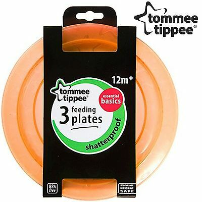 NEW Tommee Tippee Essentials Baby Toddler Feeding Plates BPA Free Orange, 3 Pack