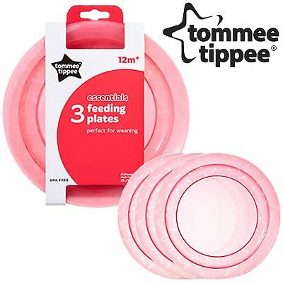Tommee Tippee Essentials Baby Toddler Colour Feeding Plates BPA Free Pink 3 Pack