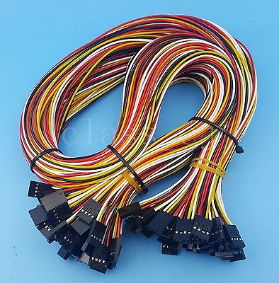 50Pcs 4Pin Double Ends Female To Female 70cm 26AWG Dupont Jumper Wire Connector