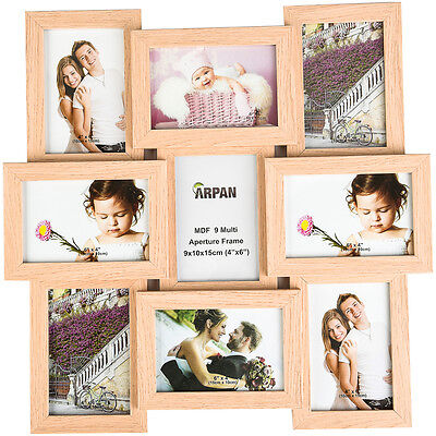 Multi Collage Photo Picture Frame 6x4'' 9 Aperture Wall Frame Natural CL-1015NT9