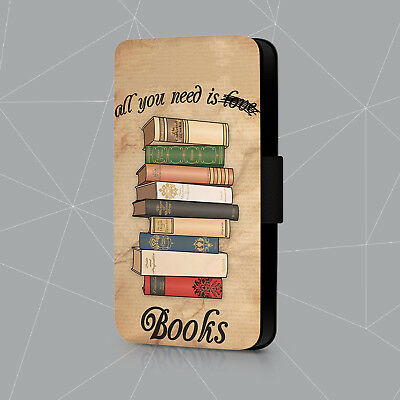 All You Need Is Books Vintage Retro Reader Leather Flip Phone Case Cover