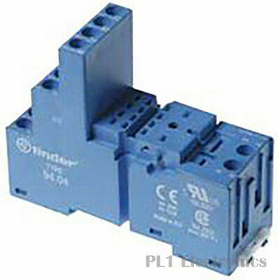 FINDER    94.04    RELAY SOCKET, DIN RAIL, 250V, 10A, BLUE                  New