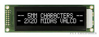 MIDAS    MC22005A12W-VNMLW    Alphanumeric LCD Display, 40, 20 x 2, White, 5.55
