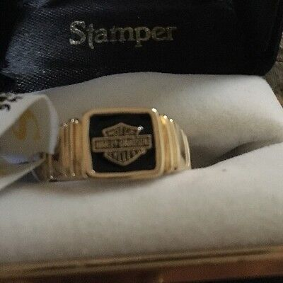 Harley Davidson Ring NWT Stamper Band Yellow 10k Gold Size 8 R7146/80