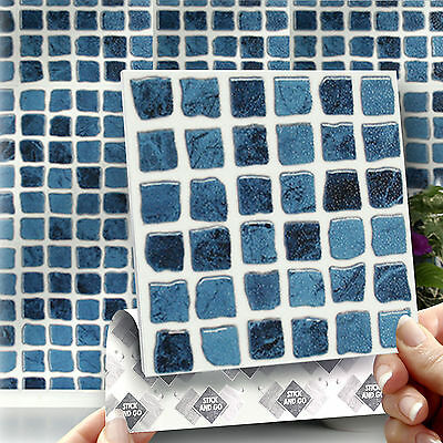 8 Stick & Go Blue Self Adhesive Stick On Wall Tiles For Kitchens or Bathrooms