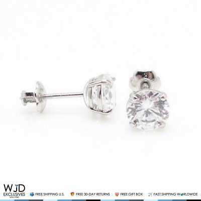 2Ct Round Cut Created Diamond Brilliant Screw Back Stud Earrings 14K White Gold