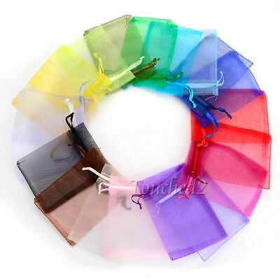 50Pcs Organza Gift Wrap Bags Jewelry Candy Pouches Wedding Favors Supply Decor