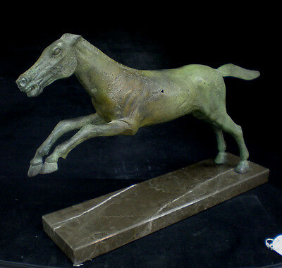 Ancient Greek Bronze Horse Running Aged Statue marble based sculpture artifact