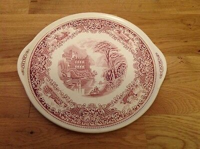 Large Cake / Cheese Plate Red, by Myott & Son Ltd ( Cambridge Old England )