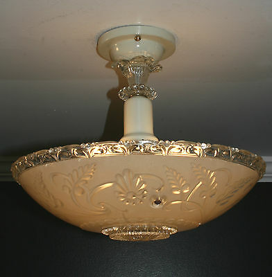 Antique beige glass semi flush art deco light fixture ceiling chandelier 1940s