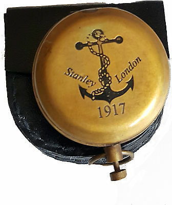 Brass Push Button Pocket Compass Maritime Compass Stanley London(Anchor)
