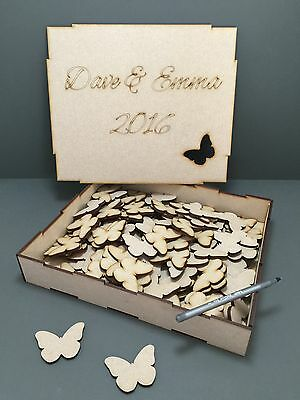 H8A 50 x 50mm PERSONALISED Butterfly Wedding Guest Book Alternate Drop Box
