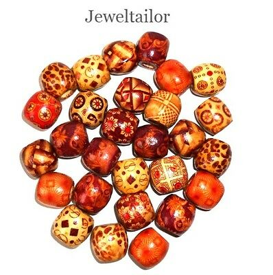 20-200 MIXED LARGE HOLE 16mm WOODEN ETHNIC HAIR OR STRINGING BEADS JEWELLERY