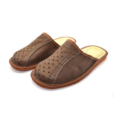 100% Genuine Leather Brown Quality Men's Slippers 6, 7, 8, 9, 10, 11, 12 ML4