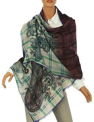 New Etro Milano Luxury Silk Cashmere Paisley Check Print Oversized Scarf Wrap