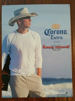 "Kenny Chesney Tour Corona Extra Beer Cerveza Embossed Metal Tin 24X18"" Wall Sign"