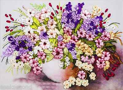 Ribbon Embroidery Kit Blooming Flowers and Vase Needlework Craft Kit RE2004