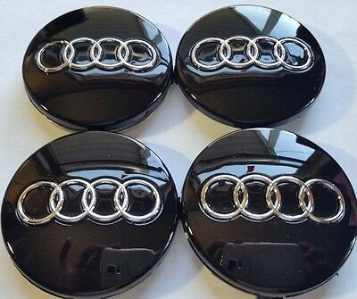 Audi Wheel Center Cap Black Chrome Logo 60 MM, Fit A3, A4, A6, A8, TT, Q7, S4