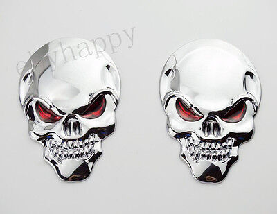 80mm Metal 3D Devil Skull Demon Emblem Decal Sticker Badge For Harley Davidson