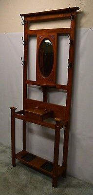 Antique Mission Style Oak Umbrella Stand Hall Rack Tree