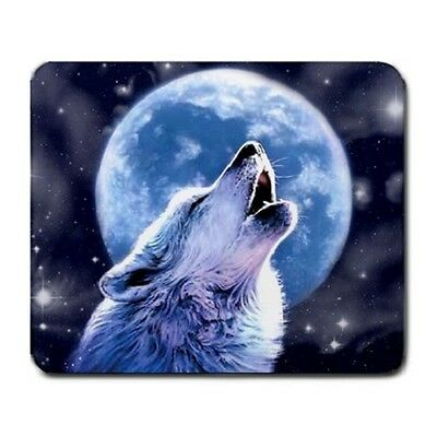 Animal Wolf Howling In The Blue Night Moon Large Mousepad Mouse Pad
