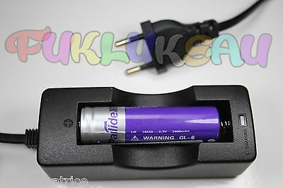 1 PILE ACCU RECHARGEABLE LI-ION 18650 3.7V 2400mAh + CHARGEUR CHARGE TRES RAPIDE