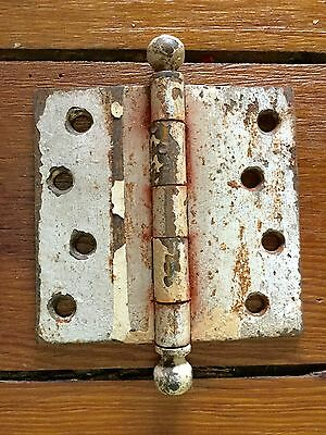 "Vintage BALL TIP BRASS STEEL Door Hinge 4"" X 4"""