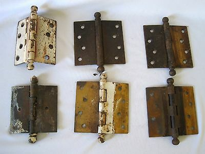 "Lot 6 Vintage BALL TIP COPPER STEEL Door Hinges 3.5"" X 3.5"""