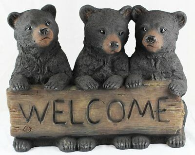 Three Black Bears Cubs Welcome Sign Statue Block Indoor Outdoor Bear Figurine
